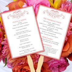 Wedding Program Fan Calligraphic Heart Coral  by WeddingTemplates, $10.00