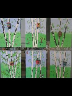 Birch trees with birdhouse Spring Art Projects, Spring Crafts, Art Education Lessons, Art Lessons, Cherry Blossom Painting, Classroom Art Projects, 5th Grade Art, Nature Journal, Art Programs