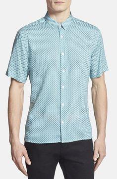 d083865f963cd Topman Slim Fit Geo Print Short Sleeve Shirt (Brit Pop-In)