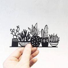Handmade papercut Cacti papercut silhouette mini
