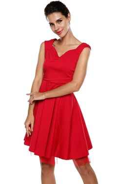 Meaneor Women 1950s V Neck Vintage Retro Capshoulder Party Cocktail Swing Dress at Amazon Women's Clothing store: