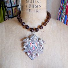Your place to buy and sell all things handmade Big Jewelry, Sacred Heart, Our Lady, Cherub, Holiday Gifts, Glass Beads, Turquoise, Pendant, Silver