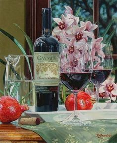 new original wine still life painting by master watercolor painter 'Eric Christensen'