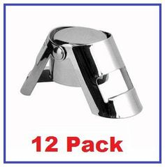 """(12 Pack) Champagne Bottle Saver Stopper, Mirror Finish by Chef Kitchen. $24.99. Preserves champagne after opening. Easy to use and store, Dimensions: 1½"""" W x 2"""" H.. -12 Pcs.- Chrome Plated high-gloss Champagne Bottle Saver Stopper. Perfect for resealing bottles of champagne and sparkling wine. Works well on champagne or other sparkling wine bottles with a cork. This chrome, champagne bottle sealer is perfect for resealing champagne bottles to keep the contents fresh, and can b..."""