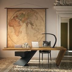 Wooden writing desk with drawers NASDAQ - Cattelan Italia Office Table Design, Office Interior Design, Office Interiors, Ceo Office, Modern Office Desk, Office Desks, Wood Office Desk, Executive Office, Wood Desk