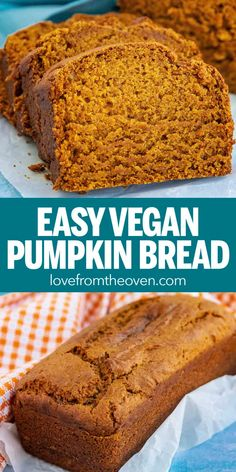 This easy vegan pumpkin bread recipe is moist and delicious! A dairy free and egg free pumpkin bread, perfect for fall! This easy vegan pumpkin bread recipe is moist and delicious! A dairy free and egg free pumpkin bread, perfect for fall! Vegan Baking Recipes, Vegan Dessert Recipes, Vegan Sweets, Bread Recipes, Sugar Free Vegan Desserts, Beginner Baking Recipes, Dairy Free Baking, Delicious Vegan Recipes, Vegan Food