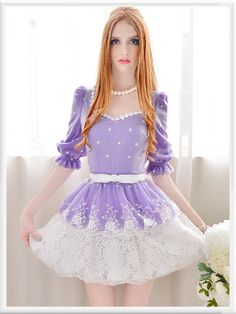 Purple diamond lace collar temperament Slim skirt lace chiffon s Short Dresses, Girls Dresses, Girly Outfits, Barbie Outfits, Dress Images, Trendy Tops, Kawaii Fashion, Sweet Girls, Blouses For Women