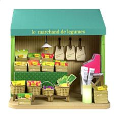 Doll House greengrocer's (cash register price tag crate basket pear carrot apple strawberry turnip onion pineapple banana) free material download | Paper Museum