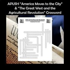 APUSH Crossword Puzzle Chapter America Moves t…Edit description Ap Test, Test Prep, School Levels, School Grades, Agricultural Revolution, Social Studies Activities, High School Classroom, Cooperative Learning, Project Based Learning