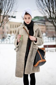 Street style winter furry coat/poodle coat and turban