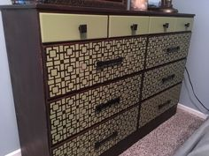 Stenciled dresser.  Old is new!