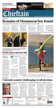 Friday, June 28, 2013 Chieftain front page