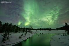 Aurora over lakes