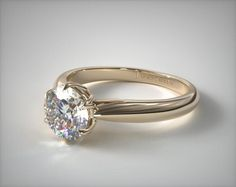 50622 engagement rings, solitaire, 14k yellow gold modern tulip diamond engagement ring item - Mobile