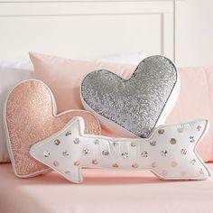 Nursery Accent Pillows - Project Nursery Sequin Shaped Pillows from PBteen - heart & arrow pillow Cute Pillows, Diy Pillows, Accent Pillows, Decorative Pillows, Pillow Ideas, Kilim Pillows, Sofa Cushions, Grey Cushions, Craft Ideas