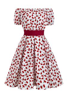 [29% OFF] 2020 Off Shoulder Cherry Print Belted Retro Dress In LAVA RED | DressLily