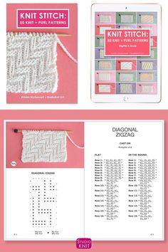 Knit Stitch Pattern Book with Classic Basket Weave Stitch Pattern by Studio Knit. Knitting Stiches, Knitting Books, Knitting Charts, Easy Knitting, Knitting Patterns Free, Knitting Designs, Stitch Patterns, Knit Basket, Basket Weaving