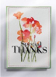 stamped flower card .Hero Arts flower stamp