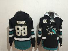 Men's San Jose Sharks #88 Brent Burns Old Time Hockey Cream Hoodie
