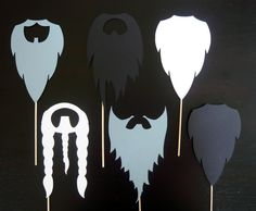 Beards on a Stick - Photo Booth Props -Parties, Birthdays, Weddings, - Photobooth Props. Set of Six. $26.00, via Etsy.