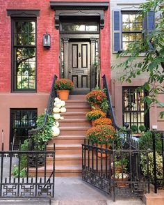 """habituallychic: """" Now that's an entrance. (at Bank Street, West Village, NYC) """" An autumn welcome in West Village. We are loving the trend of non-traditional pumpkins this fall. Seasonal Decor, Fall Decor, Niagara Falls New York, A New York Minute, Carroll Gardens, Autumn In New York, Nyc, West Village, Anne Of Green Gables"""