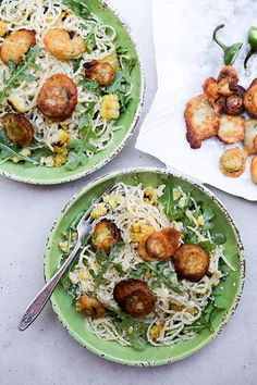 Spaghetti with Grilled Corn, Arugula, Ricotta and Fried Jalapeños | www.floatingkitchen.net