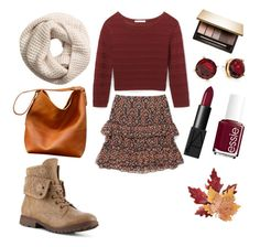 """""""outfit love the fall"""" by alexia7528 on Polyvore featuring Rebecca Minkoff, H&M, Croft & Barrow, Lauren Ralph Lauren, NARS Cosmetics, Essie and Clarins"""