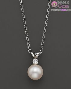 Cultured Pearl Pendant White Gold Necklace