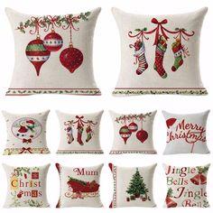 Cotton Linen Christmas Xmas Socks Pillow Case Throw Cushion Cover Home Decor #Unbranded