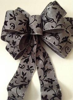 Black Velvet Leaves on Charcoal Christmas Bow - Christmas Tree Topper Bow - Black Velvet Leaves Topper - Christmas Bow by BasketsFromAtoZ on Etsy