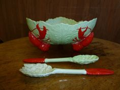 Vintage Carlton Ware Large Lobster Salad Bowl Dish Complete with Claw Servers Lobster Salad, Serveware, Tableware, Carlton Ware, Antique Pottery, Antique Perfume Bottles, Beach Cottage Decor, Pressed Glass