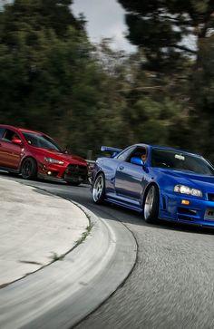 Nissan Skyline GT-R and Mitsubishi evo X Tuner Cars, Jdm Cars, Bugatti, Lamborghini, Ferrari 458, Nissan Gtr R34, Porsche, Audi, Jdm Wallpaper
