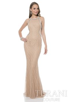 Stretch fishnet lace prom gown with a crisscross back. This prom dress is fully embellished with a tulle overlay is finished with a column skirt.