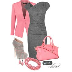 Grey and Pink, created by imclaudia-1 on Polyvore. Love everything but the shoes!