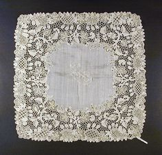 Handkerchief (Wedding) | LACMA Collections Ireland, circa 1885. Linen with linen Youghal lace.