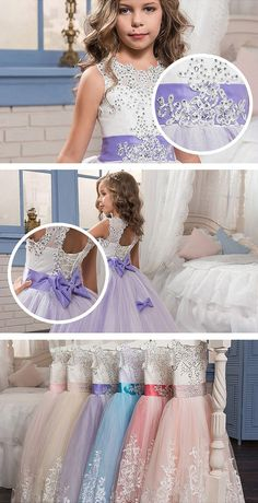 ac063b9f5e3 Lovely Lace Puffy Lace Flower Girl Dress 2018 for Weddings Tulle Ball Gown  Little Girls Party Communion Dress Pageant Gown