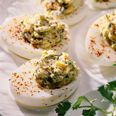 Tex-Mex Deviled Eggs   MyRecipes.com (served these a few nights ago, and wow....gone in a flash! Everyone raved over them!)