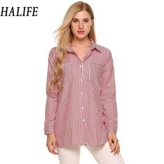 HALIFE Clothes Women Long Sleeve Turn Down Collar Button Down Long Striped Shirt Autumn 2017 Loose Casual Pockets Tops Blusa 710