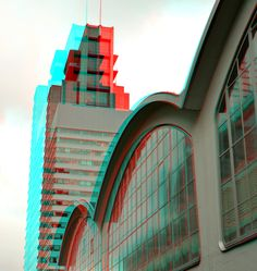 https://flic.kr/p/KsCvML | World Port Center Rotterdam 3D | anaglyph stereo red/cyan Kop van Zuid