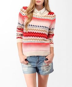 Vibrant Retro Print Sweater | FOREVER21 - great for fall and the sweater would be cute paired with skinny cords too