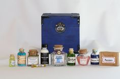 Harry Potter Potion Kit In Blue Wooden Box With Hogwarts Crest