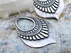 tribal ethnic bohemian fashion | Silver bohemian earrings tribal gypsy earrings