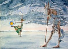 After The Apocalypse: Father Time Watches Mother Nature, Still Dancing ~ Pen, ink and watercolor. 2001.
