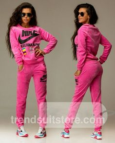 Article: V00025 #velour #tracksuit Order of this product only by wholesale catalog at our website. Stylish womens velour international pink sweatsuit.