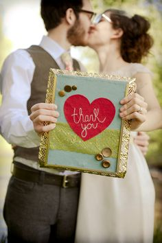 Thank you card photo with message in a small framed decorative sign