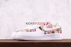 cheap for discount 080b6 4acb1 Custom Nike Air Force 1 Low Premium One World Flags 2018 FIFA World Cup  Russia White