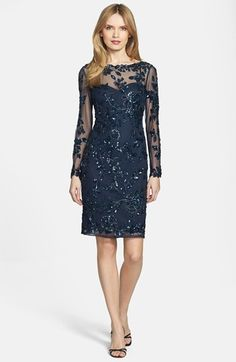 Patra Beaded Mesh Dress available at #Nordstrom  -- bridesmaid or mother of the bride