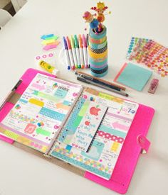 Coloursnme: APPLE iOS 7.0 Inspired week in my A5 Original Fluoro Pink Filofax
