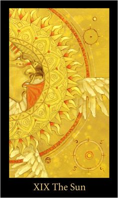 Mary el Tarot Deck - The Sun Upright: Fun, warmth, success, positivity, vitality Reversed: Temporary depression, lack of success The Sun is an image of optimism and fulfilment, the dawn that follows the darkest night. As the source of all life on earth, the Sun represents the source of life itself. The child playing joyfully in the foreground represents the happiness of our inner spirit when we are in tune with our truest Self. He is naked, having nothing to hide. He has all the innocence...