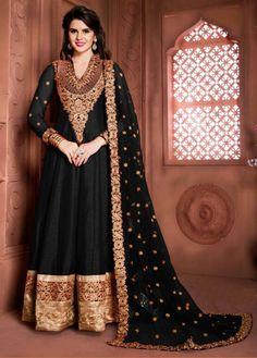 Semi Stitched Black Bangalore Silk Anarkali Suit #wedding #weddingwear #sangeet #fullsleeve #anarkali #salwar #suit #kameez #onlinesuits #designer #stylish #bollywood #freeshipping #womenwear #womenclothing #nikvik #usa #uk #uae price-US$88.06.  Sign up and get USD100 worth vouchers.